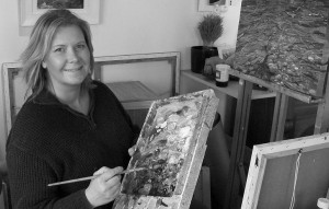 Sophi at work in her Cornish Art Gallery