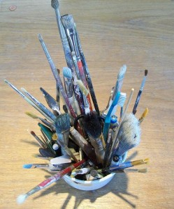 Paint brushes cornish art gallery