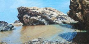 """At Gwithian"" Painting Rockpools /Water in Acrylic, best surfing beach, North Cornwall, St Ives, Cornwall Holidays, Best Beaches in UK"