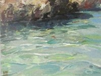 "Oil Painting, ""Tepid Water"" in a Cornish Cove, Cornwall Coast, Paint in Oils , Movement with Oil Paint, Inspired by Henry Scott Tuke & Newlyn School Artists,female UK Artist"