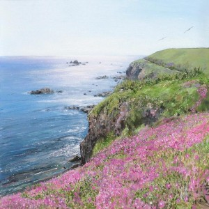 Lizard Point, Serpentine, Lampranthis, Cornwall, Holidays in Cornwall, Acrylic Seascape.