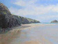 Acrylic, Seascape, Cornwall, Holywell Bay, Low tide, Reflections.