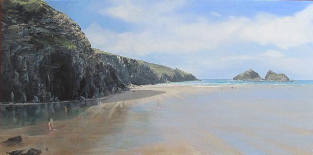 Acrylic, Seascape, Cornwall, Holywell Bay, Low tide, Reflections.