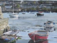 Flushing, Loose Style, Boats at Rest, Cornwall, Acrylic Painting, Board
