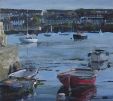 Boats at Rest, Flushing, Cornwall, Acrylic Painting, Seascape, Falmouth, Loose Style Painting, Acrylic on Board